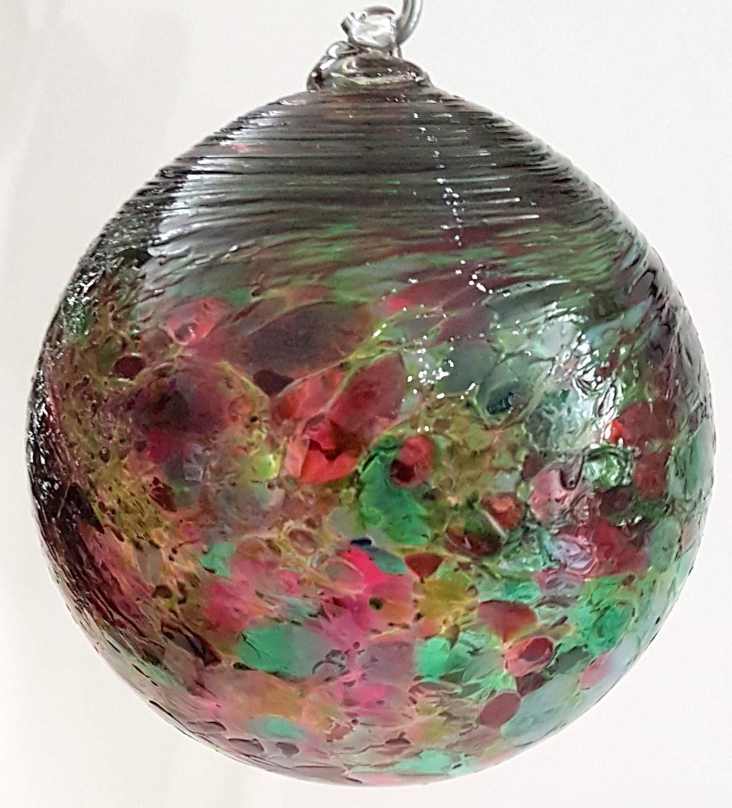 Oberstdorfer-Glashtte-Kugel-zum-hngen-Dekokugel-Fensterkugel-Bunte-Glaskugel-Ornament-grn-violett-Fensterdekoration-mundgeblasenes-Kristallglas-Durchmesser-ca-11-cm