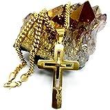 Collana con ciondolo a forma di croce in oro 24 carati, unisex, con solida chiusura a moschettone, stile Miami Cuban