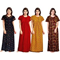 NEGLIGEE Women's Cotton Floral Printed Night Gown Nighty Combo Pack of 4 - (Multicolour, Free Size)