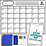 Kit Lavagna Calendario Magnetico Mensile - Lavagnetta Magnetica Calendario 43x33cm + 2 Lista della Spesa + 1 Cancellino…