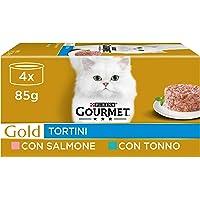 Purina Gourmet Gold Umido Gatto Tortini con Salmone, per gatti adulti, con Tonno, 48 Lattine da 85 g Ciascuna, 12…
