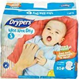 Drypers Wee Wee Dry Small Sized Diapers, Combo Pack of 2, 82 Counts Each (164 Counts)(Taped Diaper)