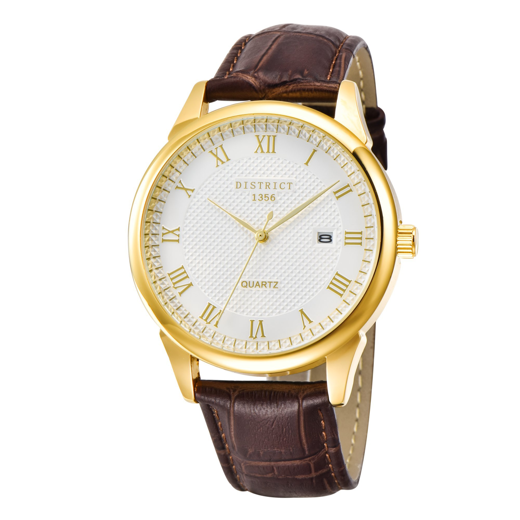 District London Mens Gold Watch With Brown Genuine Leather Strap – Calendar Function Gents Wristwatch- Designed In The UK