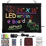 AGPtEK 60CM x 40CM Panneau à Messages Lumineux LED, Tableau Noir Panneau à Écritures et à Dessins, Effaçable, Illuminé, avec