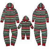 Surfiiy Pigiama Famiglia Natale Tuta con Cappuccio, Donna Mamma Adult Genitore-Figlio Costume Fiocco di Neve di Natale Cervo
