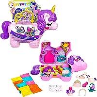 Polly Pocket coffret Licorne en Fête avec mini-figurines Polly et Lila, plusieurs zones de jeu, 25 surprises et…