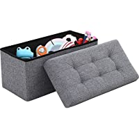 Callas Linen Home Foldable Tufted Linen Large Storage Ottoman Bench   Foot Rest Stool/Seat   Multipurpose Stool with…