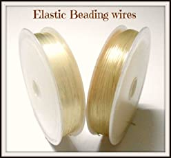 AM Elastic Stretching Cord for Beading and Jewellery Making, Transparent - Pack of 2