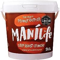 ManiLife Beurre de Cacahuète - Peanut Butter - Entièrement Naturel, d'Origine Unique, sans Sucre Ajouté, sans Huile de Palme – Deep Roast Croquant(1 x 1 kg)