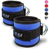FitSelf Sports 2er Sets gepolsterte Fußschlaufen mit breitem Klettverschluss für Fitness, Training am Kabelzug & Beintrainig | Ankle Straps für Frauen und Männer - 2 Jahre Gewährleistung