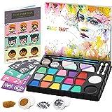 lenbest Set de Pintura Cara Infantil, Pintura Facial 17 Colores, Mayor Capacidad Blanco y Negro, con 1 Folleto Tutorial Pinta