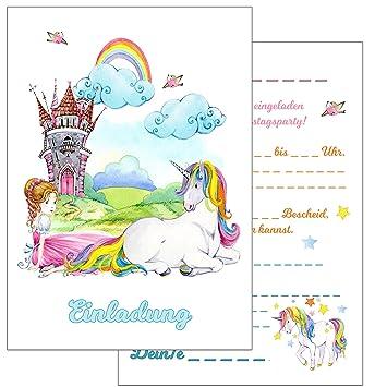 Einladungskarten Kindergeburtstag: 15 Prinzessin Und Einhorn  Geburtstagseinladungen Einladungen Geburtstag Kinder Mädchen (Mit Passenden  Umschlägen): ...