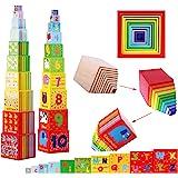 TOWO Cubes emboitables en bois - Pyramide Cubes a empiler Bebe pour apprendre à compter - Lot de 10 cubes éducatif -Montessor
