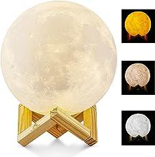 Lampada Luna 3D Stampata, ALED LIGHT Piena Lampada Moon Luna con Diametro di 15cm/5,9pollici e 3 Colori, Ricarica USB Decorativo LED Luce Notturna Toccare il Controllo, Decoro per la Stanza da Letto Mood Light per Camera da Letto Cafe