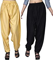 Dada Shopy Comfort fit Baggy Pants, Loose Pant Palazzo for Women, Girls combo 2 (Beige::Black, Free Size)