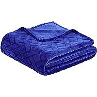 AmazonBasics - Coperta di pile, lavorata a sbalzo, Blu, 150 x 200 cm