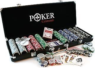 Smir 360355 Casino-Set World Poker Tour, schwarzer Aluminium-Koffer, Poker Grimaud, 500 amerikanische jetons