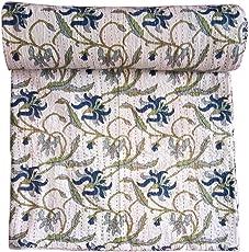 Kirti Textile and Handicraft Handmade Kantha Quilt Cotton Kantha Blanket Throw Jaipuri Kantha Bed Cover Double Bed Kantha Bedsheet Kantha Bedspread