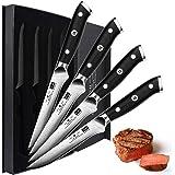 SHAN ZU Couteaux à Steak Damas, Couteaux de Table Acier Damas, 4 Couteau a Steaks de Cuisines, Coffret Couverts de Table, Man
