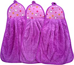 Shop By Room Soft Hanging Napkin for Wash Basin, Kitchen Basin(Purple) - Set of 3