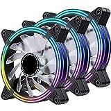 EZDIY-FAB Ventilateur de boîtier de 120 mm avec Effet de Streaming LED Arc-en-Ciel Automatique pour Le Refroidissement de l'o