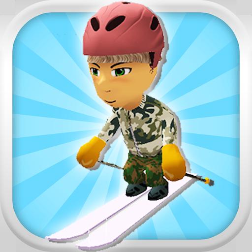 Eine Abfahrt Schnee-Skifahrer: 3D Berg Skifahren Game - FREE Edition