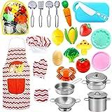 HapeeFun 25Piezas Juguetes de Cocina para niños,Juguetes para Corte de Frutas y Vegetales,Utensilios de Cocina Culinario Coci