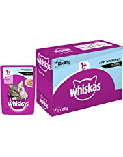 Whiskas Adult  ( 1+ Year ) Wet Cat Food, Whitefish in Gravy – 85g (12 Pouches)