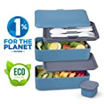Umami Original Bento | 2-Compartment Hermetic Lunch Box with 3 Piece Cutlery Set | Suitable for Adults and Children...