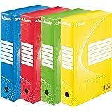 Esselte Boîte à Archive Standard, 80 mm, A4, Boîte Transfert, Carton Ondulé Sans Acide, Lot de 10, Capacité 600 Feuilles, Cou