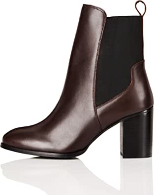 Marchio Amazon - find. - High Heeled Leather, Stivali Chelsea Donna