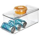 iDesign bac rangement frigo à couvercle, petite boîte conservation alimentaire en plastique pour neuf canettes, boîte aliment