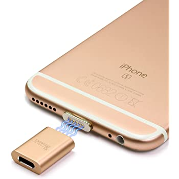 URCOVER Adattatore Lightning Magnetico Connettore iOS per Apple iPhone / iPad / iWatch in Champagne Oro [ FAST CHARGING ADAPTER ] Adattatore di Ricarica Veloce Antinciampo MAGSAFE Yank-Safety