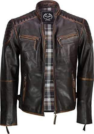 Xposed Mens Vintage Antique Washed Distressed Brown Real Leather Biker Jacket Retro Urban