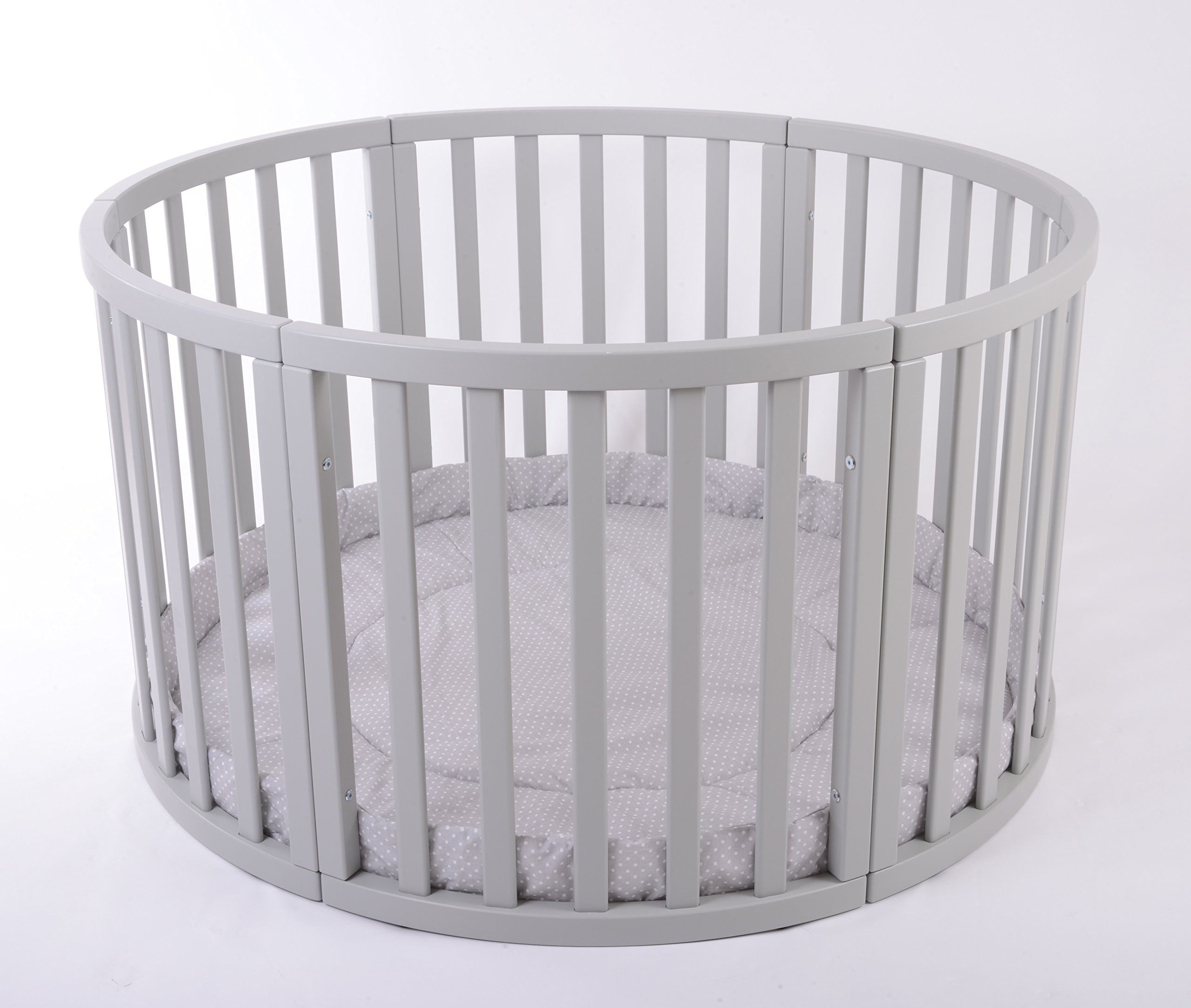 MJmark Round PLAYPEN APOLLO QUATTRO VERY LARGE Wooden play pen with play-mat SALE SALE (Grey Polka Dots) MJmark Height 70 cm approx; Ø 120cm including Playmat made from solid hard wood (Birch) 1
