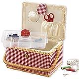 EASYmaxx sewing box | country style | insert utile avec compartiments de rangement | Inclut des accessoires de 76 pièces [rou