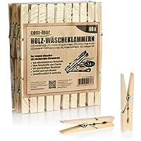 com-four® 60x Pinces à Linge en Bois - Pinces à Linge durables en Bois de Bouleau - Pinces à Linge en Bois Non traité…