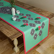SEJ Floral Green 12 by 48 inches Table Runner