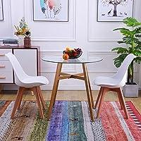 H.J WeDoo Ensemble de Table et 2 chaises pour Salle à Manger, Ronde Table Diamètre 80 cm, Chaises 52 x 48 x 82 cm, Blanc
