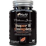 Vitamine del Complesso B - 8 Vitamine B ad Alta Potenza e Vitamina C - Vitamine B1, B2, B3, B5, B6, B8, B9 e B12-90 Compresse