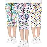 Adorel Leggings 3/4 Cortos Pantalon Estampado Niña Pack de 3