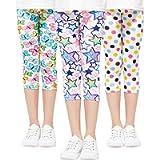 Adorel Leggings Stretch 3/4 Pantaloni Capri Bambina 3 Pack