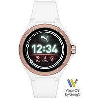 PUMA Sport - Herren 44 mm Smartwatch mit Herzfrequenz, weißes Silikonband, Leichter Touchscreen - PT9102