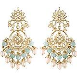 I Jewels 18K Gold Plated Traditional Handcrafted Pearl Kundan Beaded Chandbali Earrings for Women/Girls (E2916)