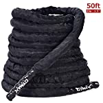 GOPLUS Battle Rope 1.5/2in Diameter, 30/40/50ft Length Poly Dacron Exercise Training Rope with Anchor for Cardio & Core...