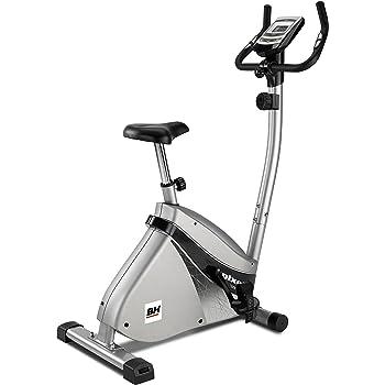 BH Fitness Pixel H494 - Bicicleta estática, Volante de inercia 7,5kg, Freno magnético, Monitor LCD, Ruedas de transporte, Gris