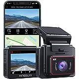KINGSLIM D5 Dashcam 4K, GPS & WiFi Intégrés, Caméra de Bord Discrète avec Écran IPS 2'', Caméra Voiture Embarquée Super Visio