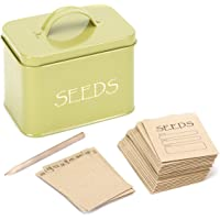 Katai Steel Seed Storage Box Organiser in Green. Compact Seed Packet Container with Lid Complete with Monthly Dividers, 20 Envelopes and Pencil