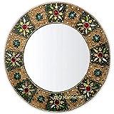GIG Handicrafts Decorative Wood Glass Modern Art Wall Mounted Hanging Mirror Sculpture (60 x 60 x 4 cm, Multicolour)