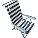 HOMECALL Beach folding Chair with LOUNGER FUNCTION and pillow,7 level position adjustment, bottle opener